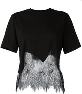 McQ by Alexander McQueen lace insert T-shirt - women - Cotton/Polyamide - S