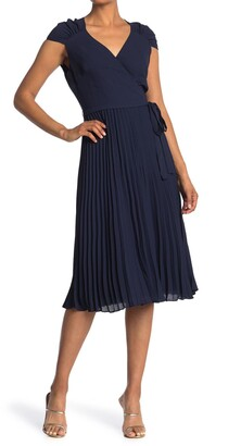 Maggy London Surplice Ruched Shoulder Pleated Midi Dress