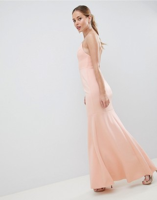 Asos Design DESIGN drop waist scuba cami maxi dress-Pink