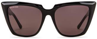 Balenciaga Acetate Tip Sunglasses in Shiny Black & Grey | FWRD