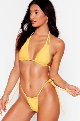 Nasty Gal Womens Swim Me Over Halter High-Leg Bikini Set - Yellow