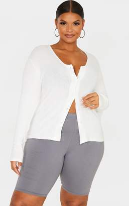 PrettyLittleThing Plus Cream Brushed Rib Long Sleeve Button Front Top