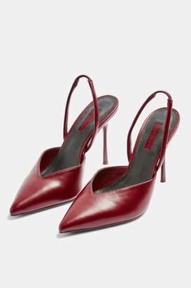 Topshop GARLAND Burgundy Slingback Court Shoes