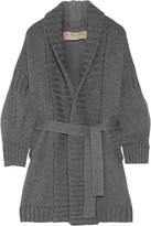 Burberry Belted Wool And Cashmere-blend Cardigan - Anthracite