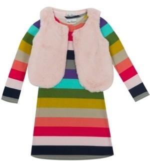 Rare Editions Little Girl Hacchi Dress With Faux Fur Vest