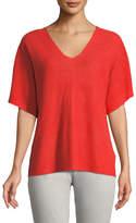 Eileen Fisher Short-Sleeve V-Neck Organic Linen Top, Plus Size