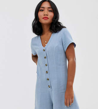 New Look Petite button down playsuit in light blue