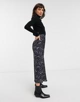 AllSaints hera remix animal print 2 in 1 midi dress in black