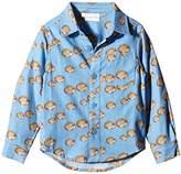 Rachel Riley Boy's Hedgehog Flannel Shirt, Multicoloured (Blue, Brown/Tan)