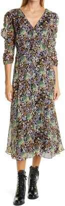 By Ti Mo Floral Organza Ruched Dress