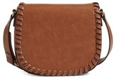Phase 3 Whipstitch Faux Leather Saddle Bag - Brown