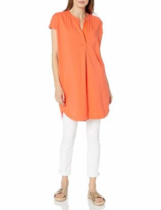 Joan Vass Women's Relaxed Slit Neck Tunic Top