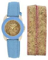 Sprout Women's Cork Dial Watch - Blue/Pink