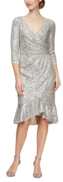 Alex Evenings Sequinned Flounce-Hem Midi Dress