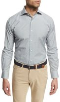 Peter Millar Multi-Check Long-Sleeve Sport Shirt, Sand