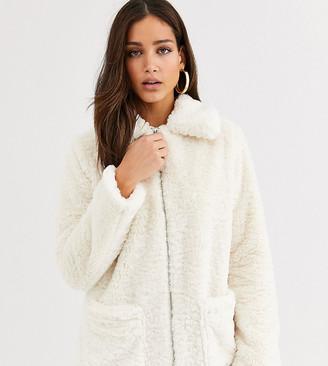 New Look Tall borg pocket detail teddy jacket in cream