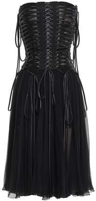 Dolce & Gabbana Strapless Lace-up Silk-chiffon And Tulle Midi Dress