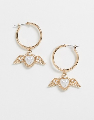 ASOS DESIGN hoop earrings with angelic heart charm in gold tone
