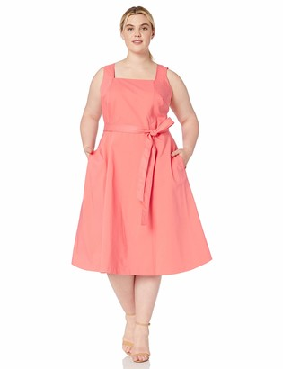 Calvin Klein Women's Plus Size Square Neck Fit & Flare Dress with Self Tie