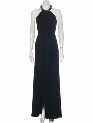 Carmen Marc Valvo Halterneck Long Dress Black
