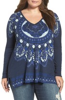 Lucky Brand Plus Size Women's Border Mandala Tee