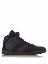 Bottega Veneta Intrecciato High-top Leather And Suede Trainers