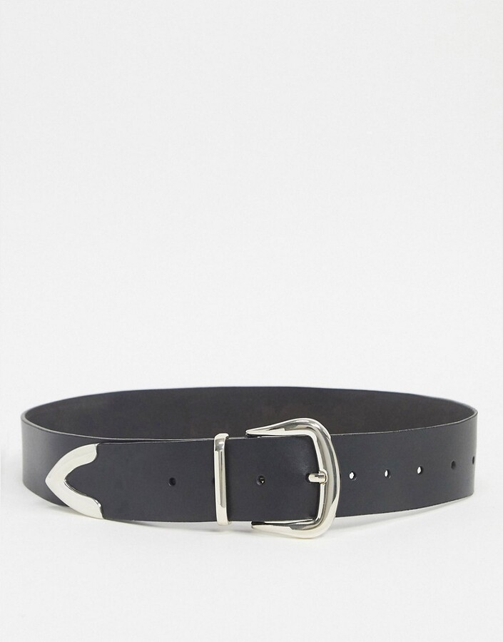 Asos DESIGN leather tipped jeans belt in black with shiny silver metal