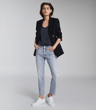 Reiss Bailey - Mid Rise Slim Cropped Jeans in Light Blue