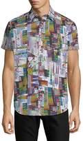 Robert Graham Men's Kirkway Short-Sleeve Cotton Button-Down Shirt