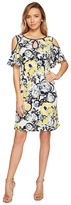 Sangria Cold Shoulder Floral Shift Dress with Keyhole Detail