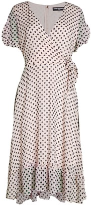 Karl Lagerfeld Paris Polka Dot Chiffon Flare Dress