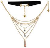 GUESS Gold-Tone 2-Pc. Set Multi-Stone Multi-Layer Pendant & Velvet Choker Necklaces