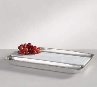 Pottery Barn Antique Silver & Marble Cheese Tray