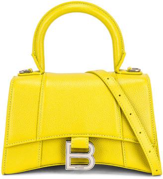 Balenciaga XS Hourglass Top Handle Bag in Lime   FWRD