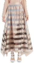 Fendi Women's Stripe Satin Organza Ball Skirt