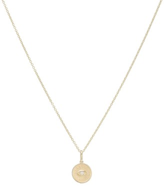 Sydney Evan Marquis Eye 14kt yellow gold and diamond necklace