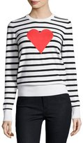 French Connection Heart-Struck Striped Sweater, Black/White