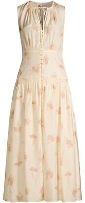 Nora Floral Silk Sleeveless A-Line Dress
