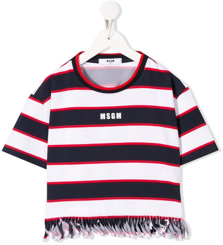Msgm Kids striped logo-printed T-shirt