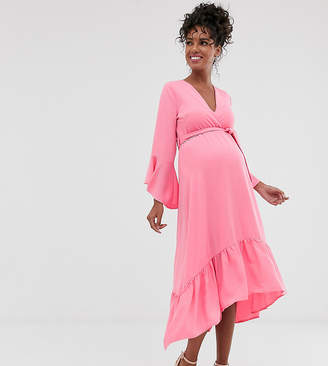 Queen Bee wrap front fluted sleeve midi dress in pink