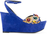 Casadei sequin embellished wedge sandals - women - Chamois Leather/Leather/Nappa Leather - 37