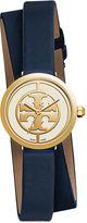 Tory Burch Women's Swiss Reva Navy Leather Wrap Strap Watch 28mm TB4043