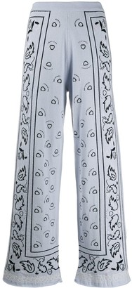 Barrie Bandana Pattern Wide-Leg Trousers