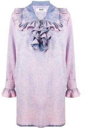 MSGM Ruffled Bleached Denim Dress