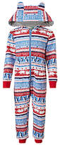 John Lewis Children's Arctic Fair Isle Sweat Onesie, Blue/Red