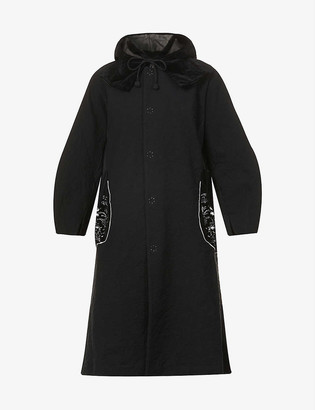 Renli Su Floral-embroidered cotton-blend hooded jacket