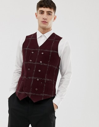 Asos Design ASOS Slim Suit vest In Moons Wool Rich Burgundy Check