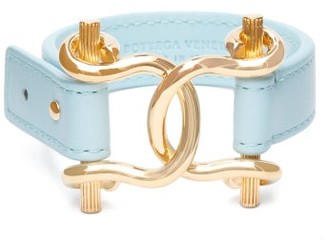 Bottega Veneta Horsebit Leather Bracelet - Blue