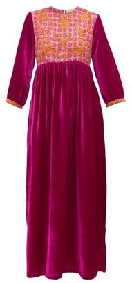 Muzungu Sisters - Touba Floral-embroidered Silk-blend Dress - Pink Multi