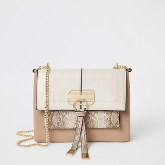 River Island Beige snake print lock front cross body bag